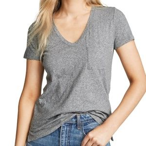 NWT Madewell Grey Whisper Cotton V Neck Pocket Tee